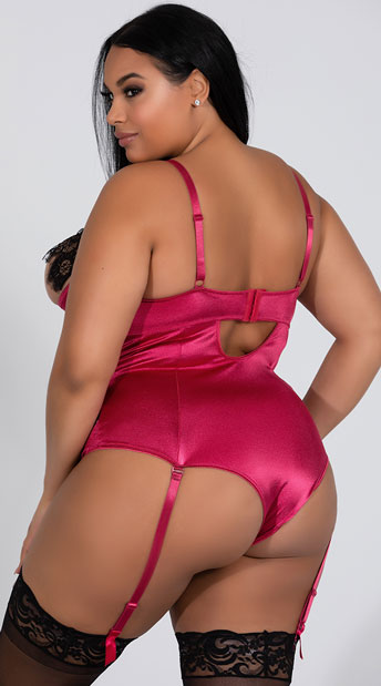 Plus Size Fontanne Flirt With Me Bodysuit - Berry/Black
