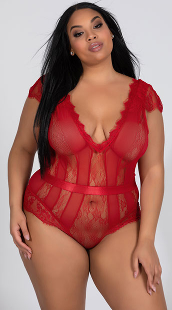c42c480ee Plus Size Striped Eyelash Lace Teddy - Red ...