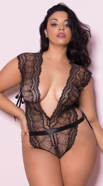 d685c8bd1625f Plus Size Midnight Maven Lace Teddy - Black ...