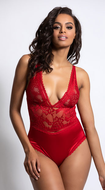 Yvette Satin And Lace Teddy Lace And Satin Teddy Yandy