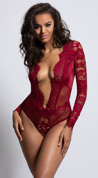Renata Long Sleeve Teddy - Rhubarb