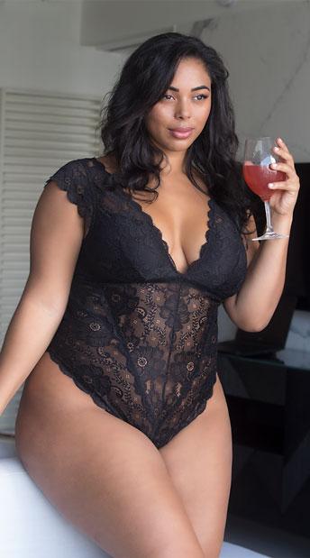 8d401461a9927 Plus Size Suzette Lace Teddy - Black ...