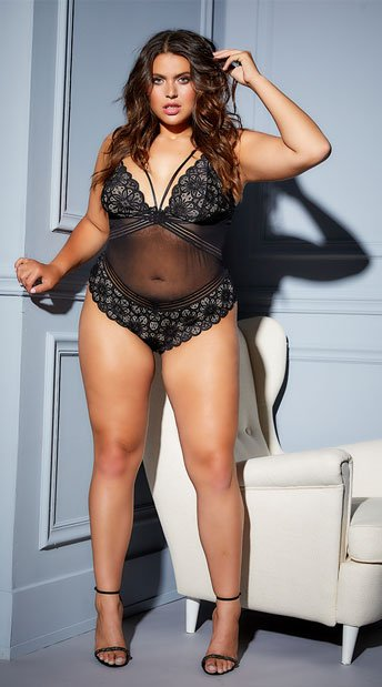 Plus Size Charisse Tease Me Teddy - Black/Nude