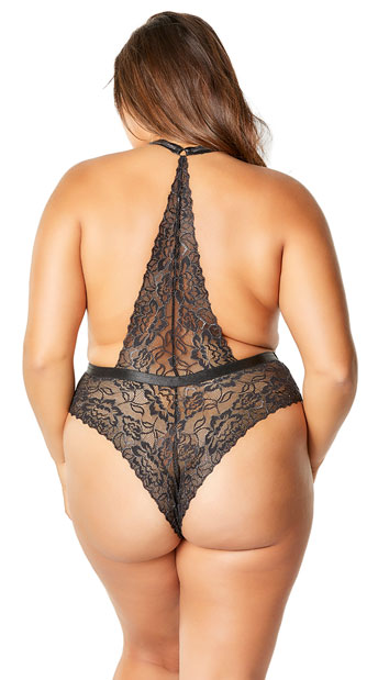 Plus Size Lynette Shine Teddy - Black/Silver