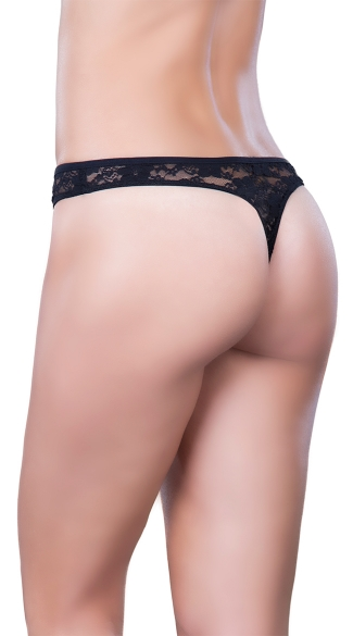 Lacy Tuxedo Thong - Black/Red