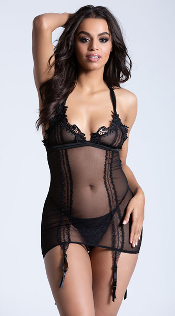 9a3b0fd414 Classic Mesh and Venice Lace Chemise Set - Black ...