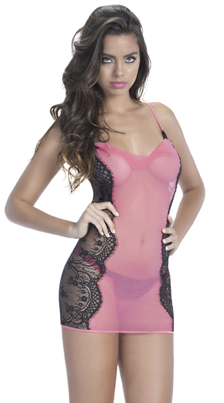 Romantic Eyelash Lace and Mesh Chemise Set, Mesh and Lace Chemise Set, Eyelash Lace Chemise Set