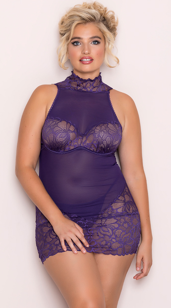 Plus Size Girly Grape Chemise Set, plus size purple mesh and lace chemise set - Yandy.com