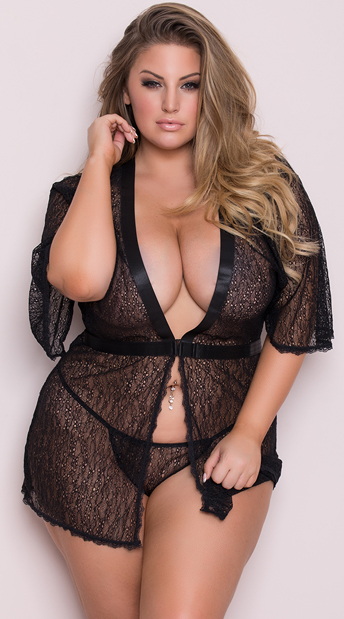 40b3ba0fb Plus Size Black Netted Robe Set - Black ...