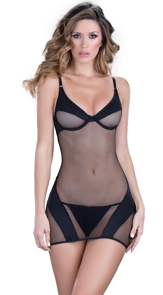 Opaque Paneled Fishnet Chemise Set, Sexy Fishnet Chemise Dress, Chemise and G-string Set