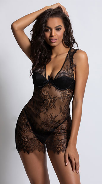 Colette Lace Chemise Set - Black