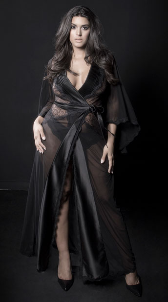 Plus Size Nicolette Satin and Lace Robe, Plus Size Black Satin and Lace Robe - Yandy.com