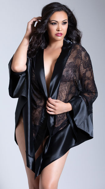 Plus Size Roxanne Satin and Lace Robe - Black