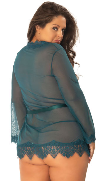 Plus Size Eyelash Lace Robe and G-String - Deep Teal