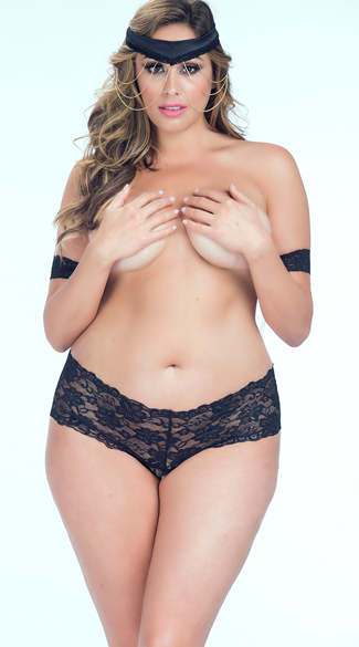 Plus Size Lace and Chain Set - as shown