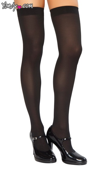 Opaque Thigh High Stockings - Black