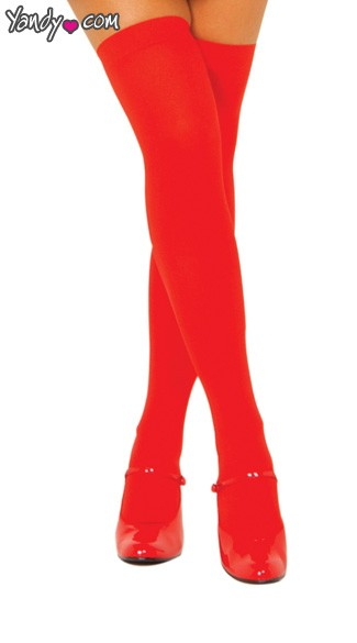 Opaque Thigh High Stockings - Red