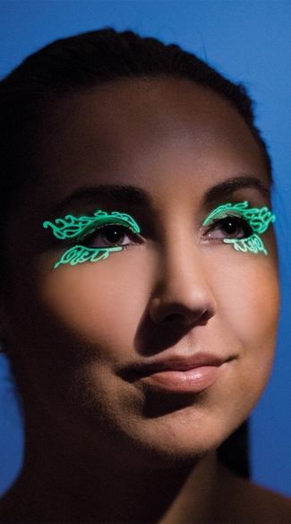 Glow In The Dark Double Swirl Eyelashes, Glow In The Dark Eye Lashes, Glow Lashes
