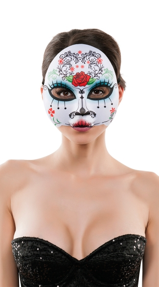 Elegant Day of the Dead Mask, Women\'s Day of the Dead Mask, Rose Day of the Dead Mask