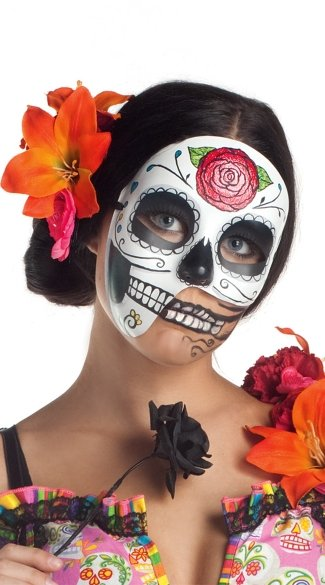 Asymmetrical Day Of The Dead Mask, Day Of The Dead 3/4 Mask, Women\'s Day of the Dead Mask