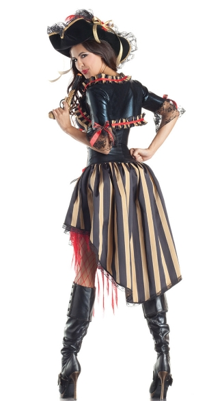 Deluxe Shaper Pirate Costume - Black/Red