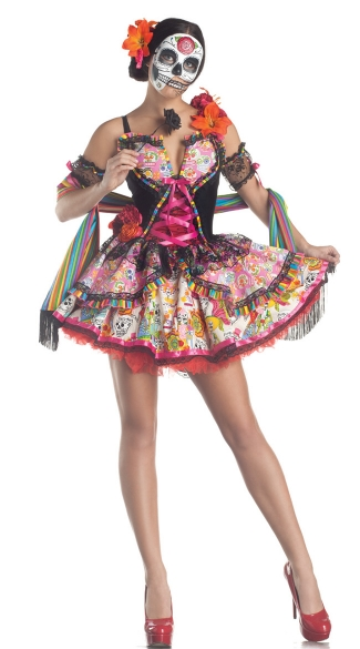 Deluxe Day Of The Dead Costume - Multicolor