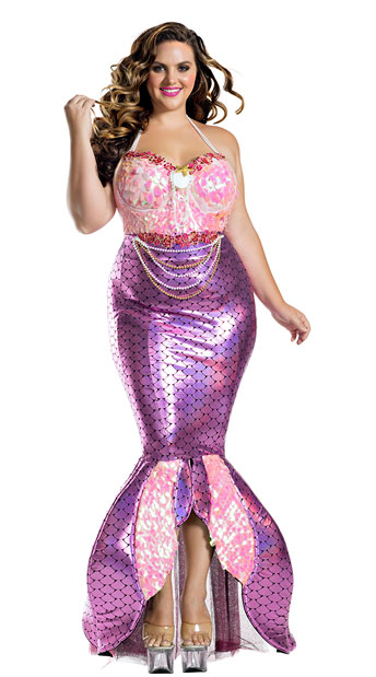 Plus Size Blushing Beauty Mermaid Costume - As Shown