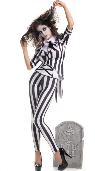Graveyard Ghost Costume - Black/White