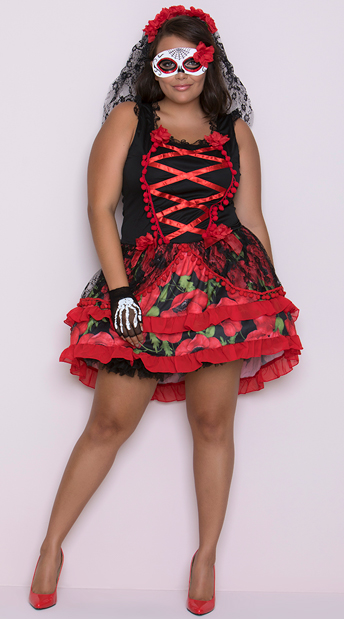 Plus Size Senorita Rose Costume - As Shown