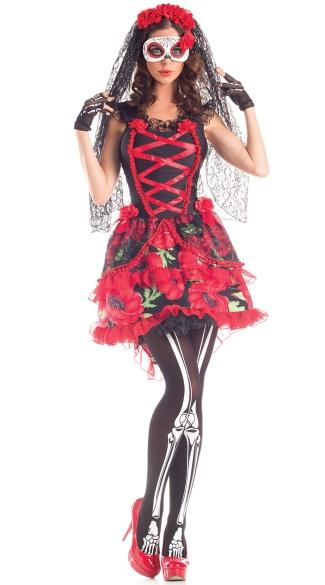 of the Dead Senorita Rose Costume, Sexy Day of the Dead Costume ...
