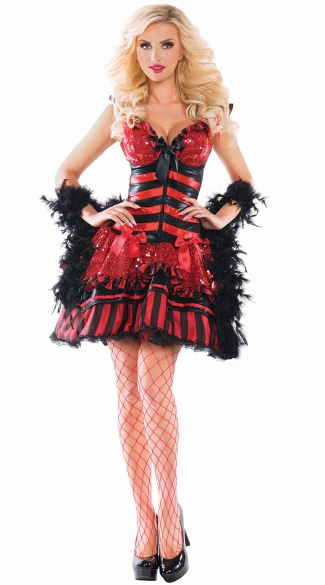 Burlesque Babe Shaper Costume, Burlesque Halloween Costume, Red Burlesque Costume, Deluxe Halloween Costume