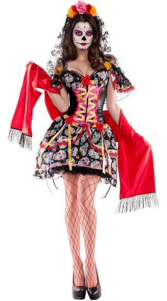 catrina de muerto shaper costume sexy day of the dead costume adult womens day of the dead halloween costume