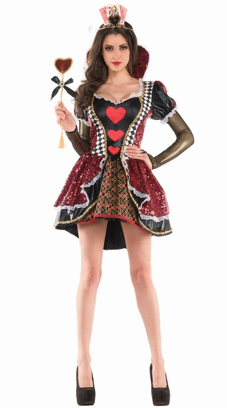 Royal Queen Of Hearts Costume, Black and Red Queen Costume, Sequin Queen Costume
