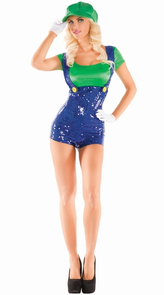 green plumber babe womens video game costume cute green plumber halloween costume sequin video game character costume