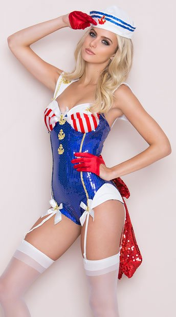 Seaside Sailor Deluxe Costume, Sexy Sailor Costume, Adult Sailor Halloween Costume, Sequin Sailor Costume