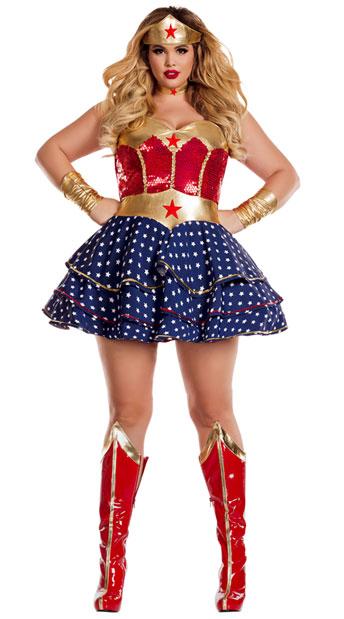 Plus Size Wonderful Sweetheart Costume, Plus Size Wonder Lady Costume -3212