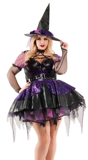 Plus Size Amethyst Pentagram Witch Costume - Black