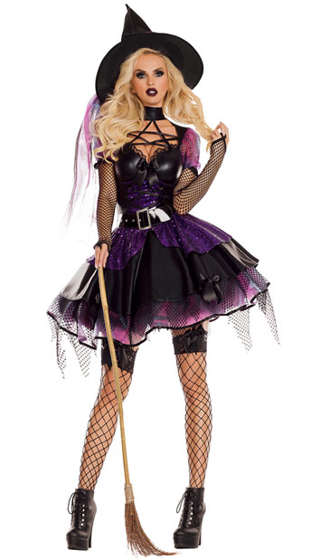 Amethyst Pentagram Witch Costume, Black and Purple Witch Costume - Yandy.com