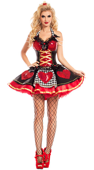 Off With Their Heads Queen Costume, Sexy Off With Their Heads Queen Costume, heart queen costume, sexy heart queen costume, queen of hearts costume, sexy queen of hearts costume, wonderland queen costume, sexy wonderland queen costume