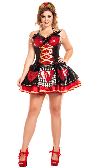 Plus Size Off With Their Heads Queen Costume, plus size Sexy Off With Their Heads Queen Costume, plus size heart queen costume, plus size sexy heart queen costume, plus size queen of hearts costume, plus size sexy queen of hearts costume, plus size wonderland queen costume, plus size sexy wonderland queen costume