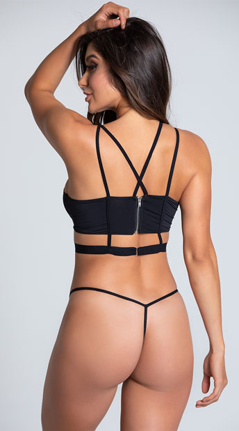 Sassy Star Strappy Bra Set - Black