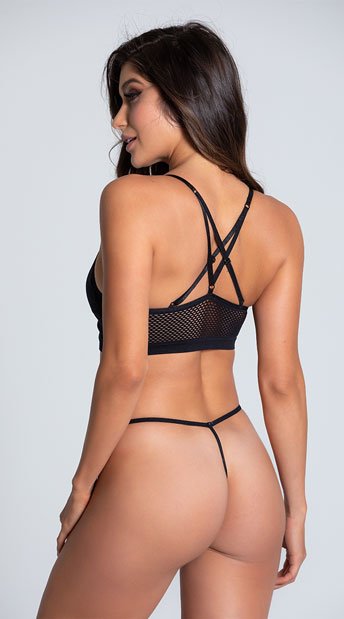 Show-Off Strappy Bra and Panty - Black