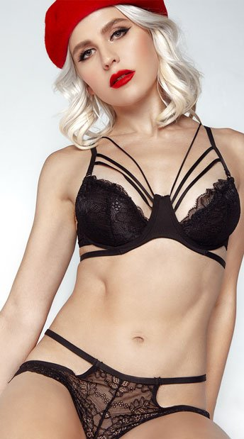 Strapped In Lace Bra Set - Black