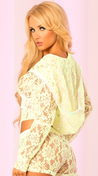 Sexy and Sheer Lace Hoodie with Pockets - Green
