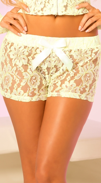 Sheer Lace Hot Shorts with Bow, Stretch Lace Shorts, Dance Shorts