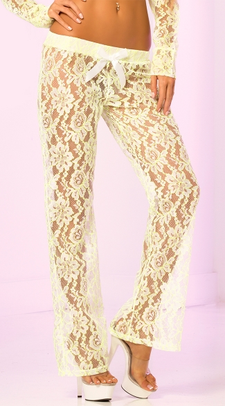 Sheer Lacey Floral Pants - Green