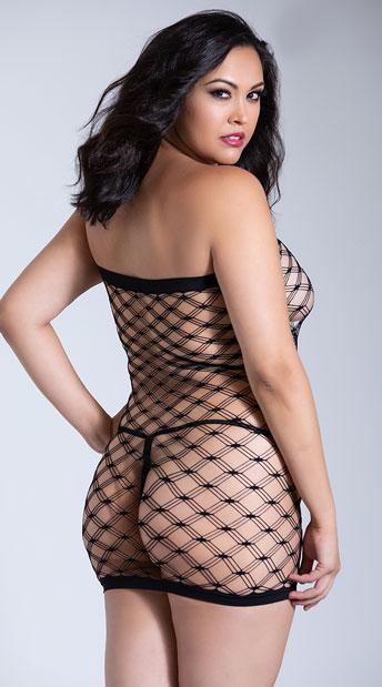 Plus Size Teaser Diamond Net Mini Dress - Black