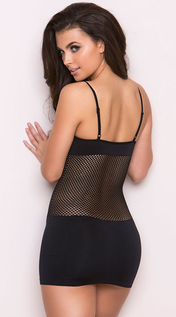 Fishnet Torso Seamless Mini Dress - as shown