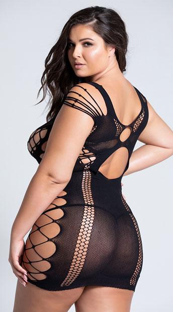 Plus Size Full Of Shred Mini Dress - Black