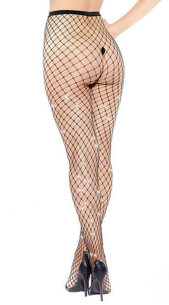 Glimmer Fishnet Pantyhose - Black